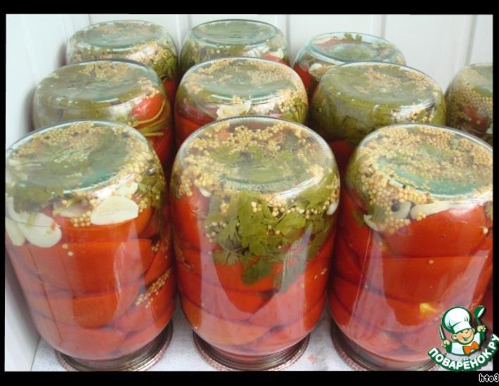 Рецепт: Маринованные помидоры половинками
