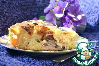 Рецепт: Грибной пирог под сырной заливкой