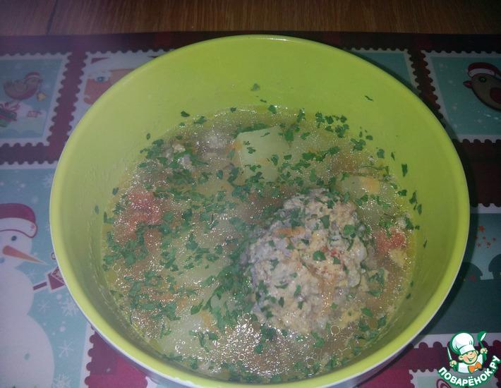 Рецепт: Бульон с гречнево-мясными фрикадельками