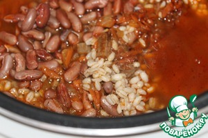 Add the beans, barley, add water to covers the contents