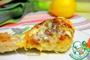 Chicken drumsticks in bread batter with cheese