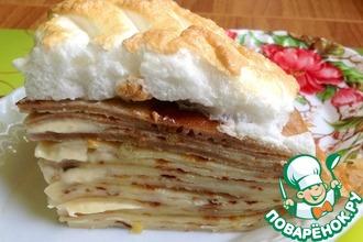 Рецепт: Торт блинный с маскарпоне и нежной меренгой