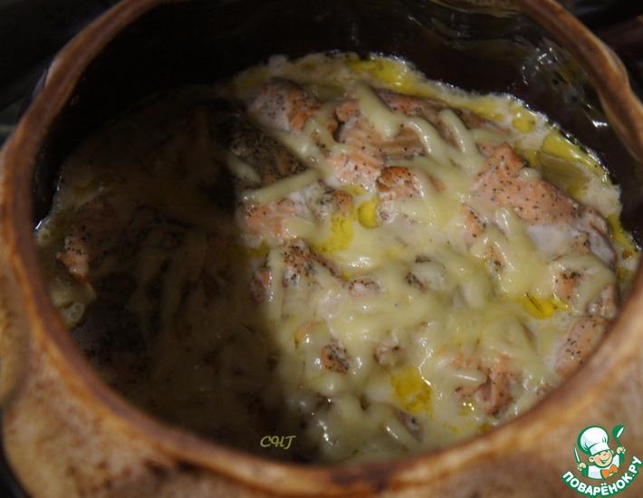 Рецепт: Горбуша с овощами в горшочках