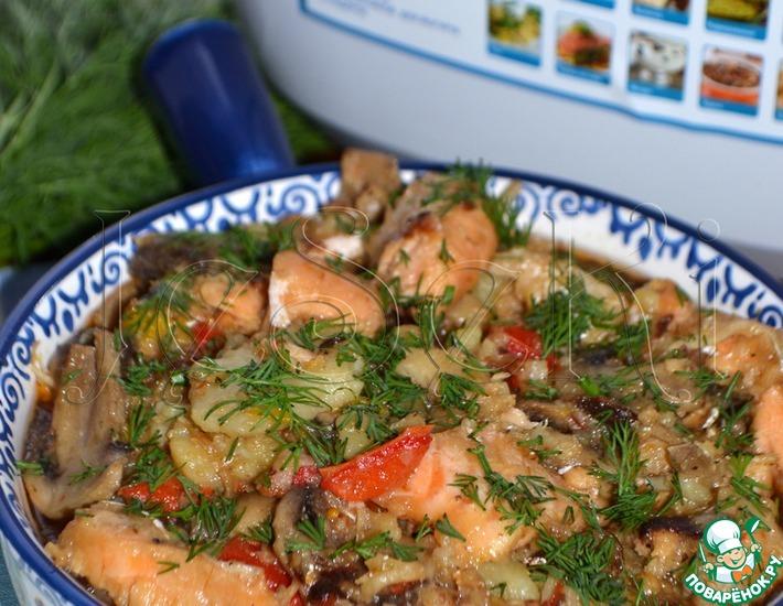 Рецепт: Поджарка из двух видов рыбы в мультиварке