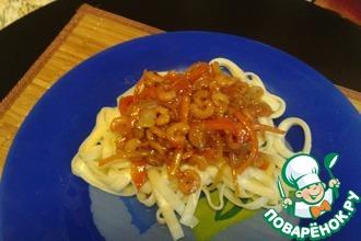Рецепт: Лапша удон с креветками в соусе терияки