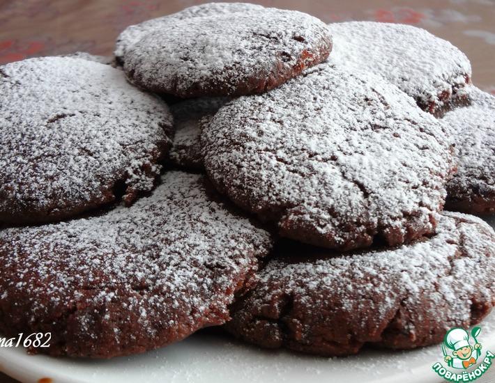 Рецепт: Постное шоколадно-смородиновое печенье