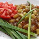 Овощи жареные с чесноком и соевым соусом