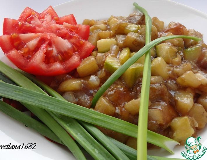 Рецепт: Овощи жареные с чесноком и соевым соусом