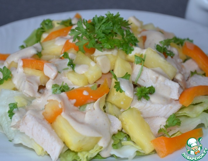 Рецепт: Курино-ананасовый салат