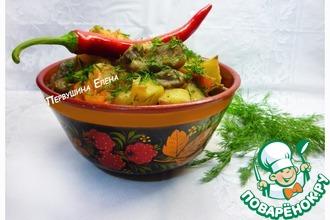 Рецепт: Рагу грибное с топинамбуром и перцем чили, томленное в соево-имбирной подливе