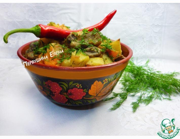 Рецепт: Рагу грибное с топинамбуром и чили