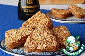 Рецепт: Печенье из толокна в кунжутной глазури Будь здоров!