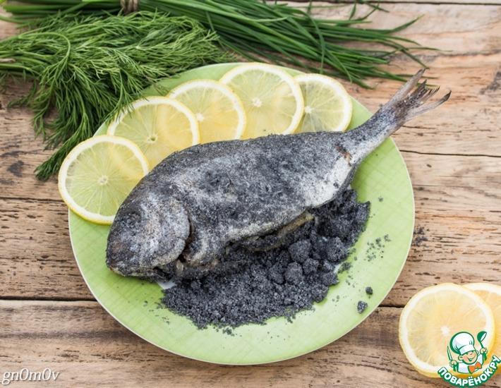 Рецепт: Дорада в черной соли с квашеными лимонами