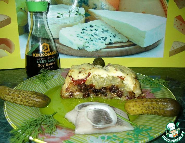 Рецепт: Картофельная запеканка с грибами, луком и вялеными помидорами