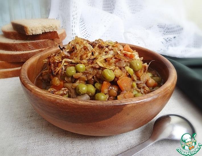 Рецепт: Пряная чечевица с карамельным луком
