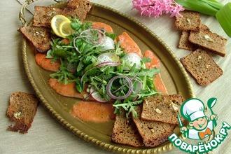 Рецепт: Карпаччо из лосося с зеленым салатом