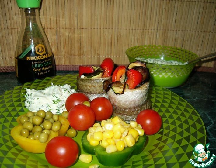 Рецепт: Рыбно-овощные цветы