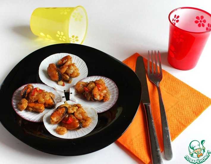 Рецепт: Горячая закуска из морепродуктов с соевым соусом