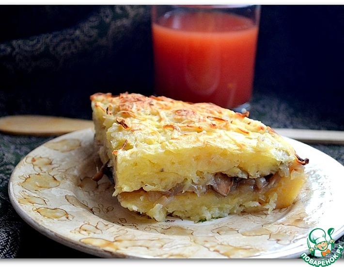 Рецепт: Постная картофельная запеканка с грибной начинкой