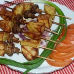 Шашлычки из картофеля с шампиньонами (в аэрогриле)