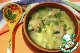 Рецепт: Суп куриный с клецками по-деревенски