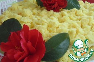 Рецепт: Итальянский торт Мимоза с клубникой и ананасами