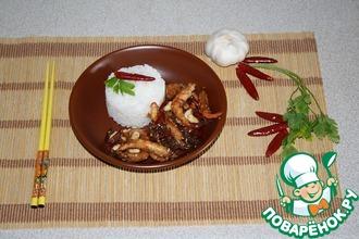 Рецепт: Креветки с арахисом и кунжутом