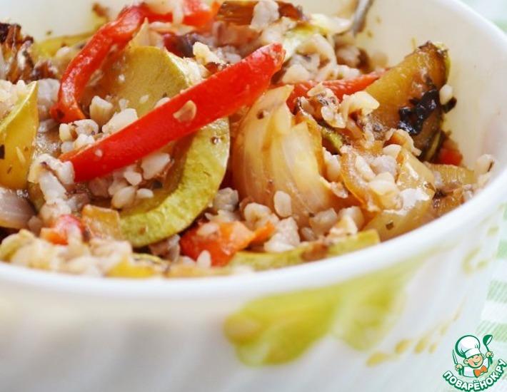 Рецепт: Теплый салат из овощей с гречкой