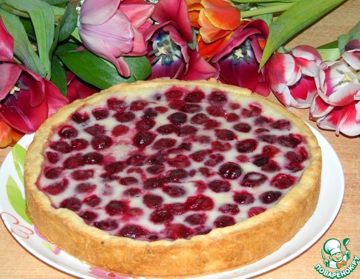 Рецепт: Вишнёво-творожный пирог