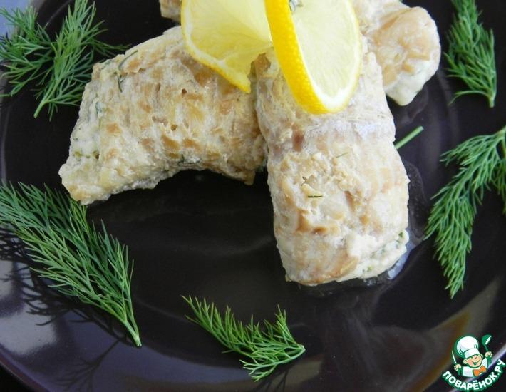 Рецепт: Рулетики из рыбы с брынзой и зеленью