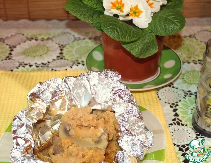 Рецепт: Шампиньоны с персидской чечевицей