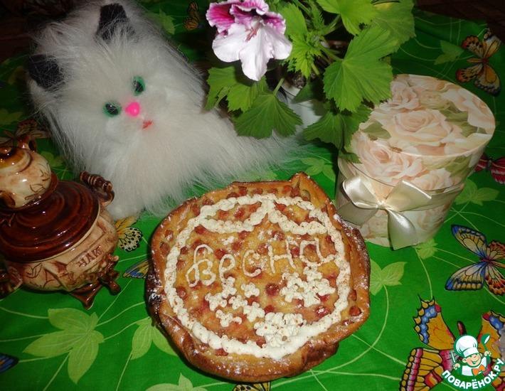 Рецепт: Вишневый клафути под творожным кремом