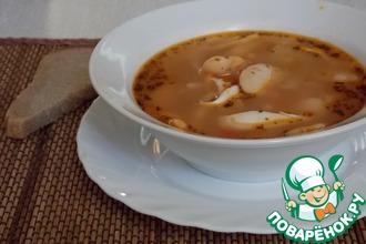 Рецепт: Фасолевый суп с кальмарами