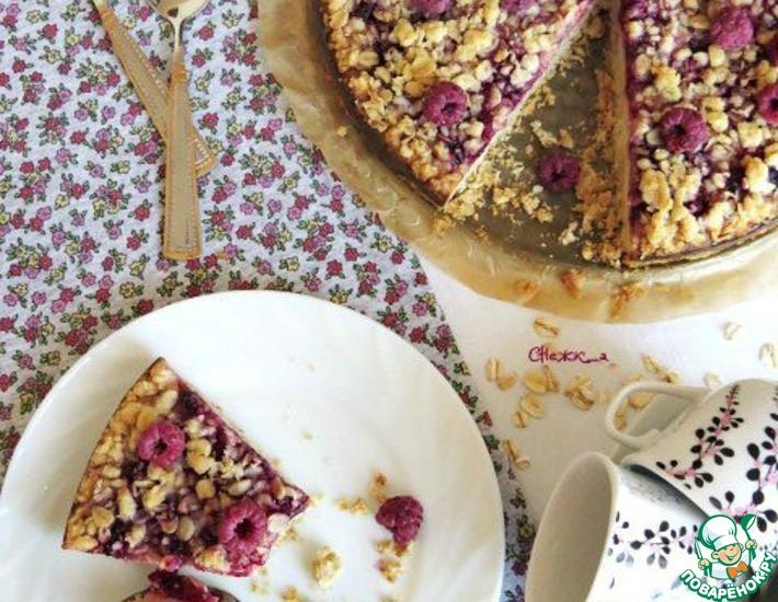 Рецепт: Пирог из овсянки с малиной