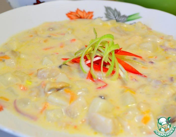 Рецепт: Густой сливочный суп из рыбного ассорти и морепродуктов