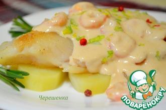 Рецепт: Белая рыба с розовым соусом и креветками