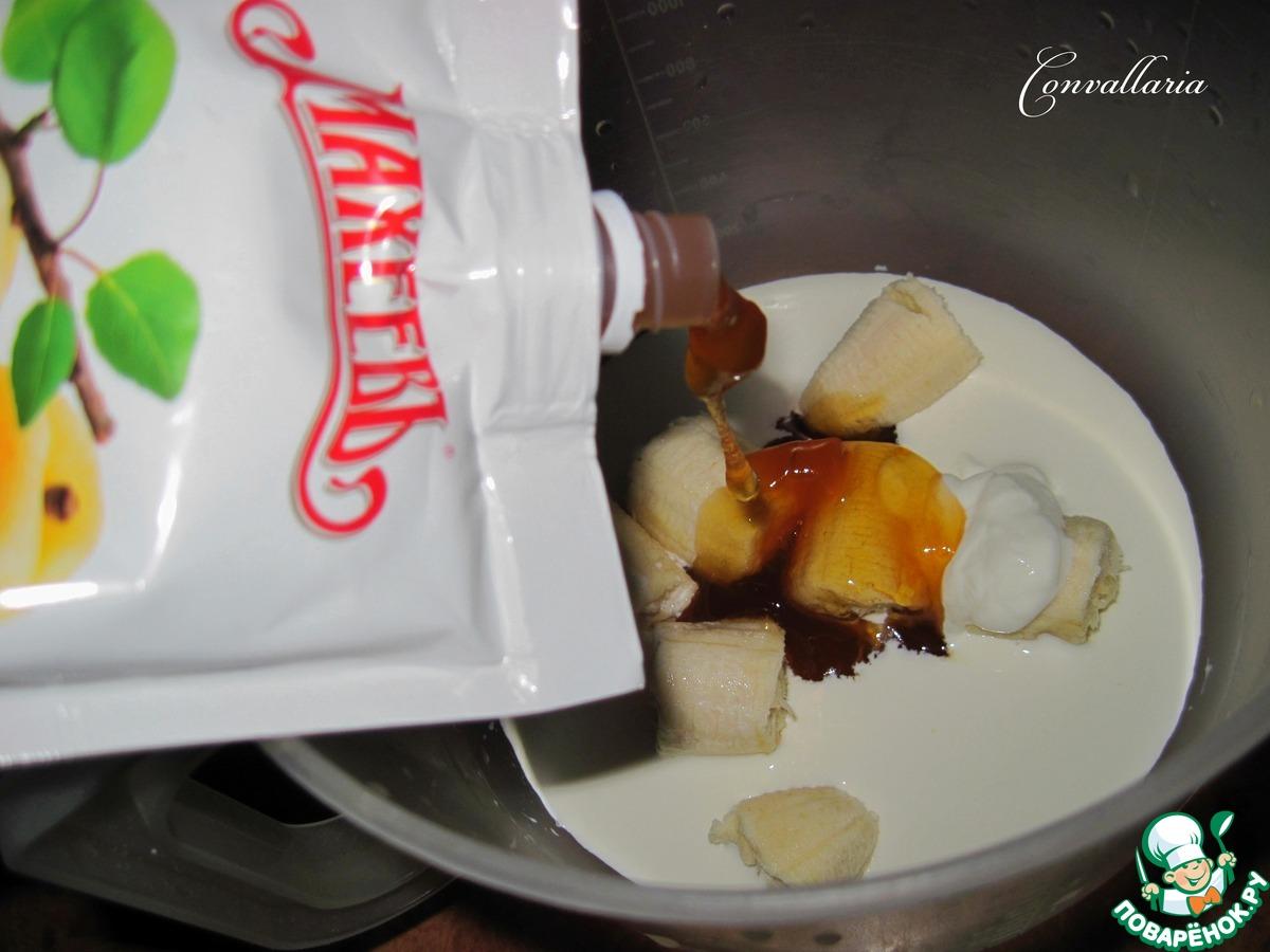 Творожный пудинг с бананово-абрикосовым соусом