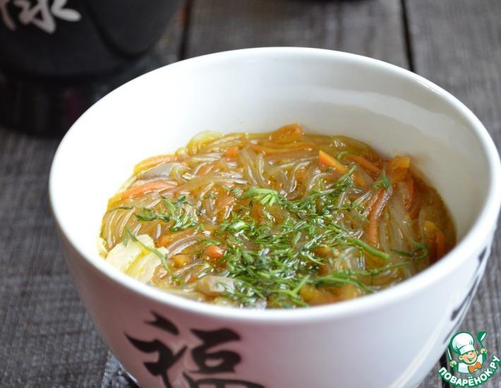 Рецепт: Густой грибной суп с фунчозой