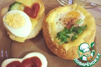 Рецепт: Чашечки с яйцом и сыром
