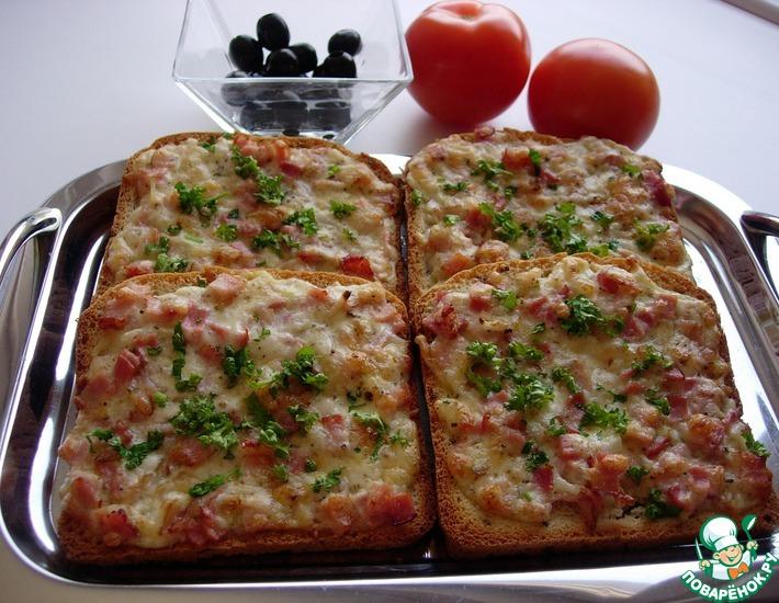 Рецепт: Горячие бутерброды Мужское счастье
