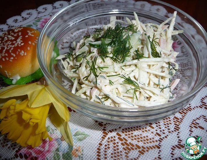 Рецепт: Салат из капусты с вареной колбасой