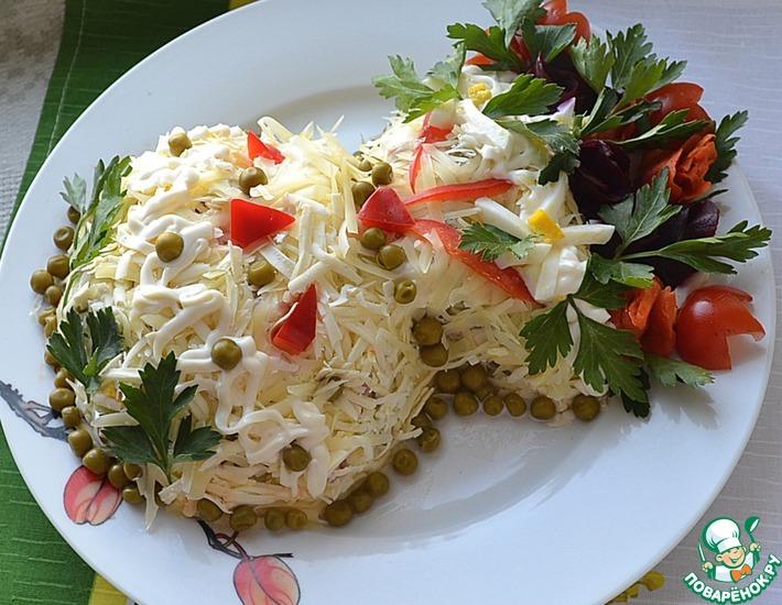 Рецепт: Салат Ваза с цветами