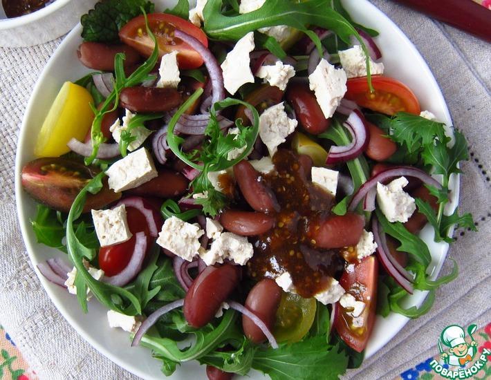 Рецепт: Салат с фасолью, тофу и томатами