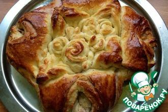 Рецепт: Сдобный сладкий пирог Первые цветы