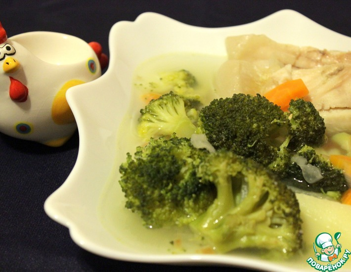 Рецепт: Диетический рыбный суп с брокколи