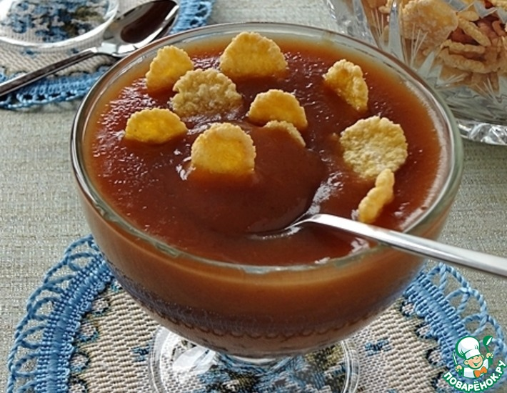 Рецепт: Кисельный десерт из сушеных яблок