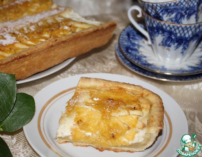 Рецепт: Творожный тарт Солнечный с ананасами и лимонным джемом