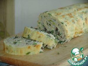 Omelet roll with mushrooms and cheese