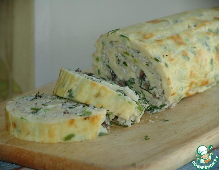 Рецепт: Омлет-рулет с грибами и сыром