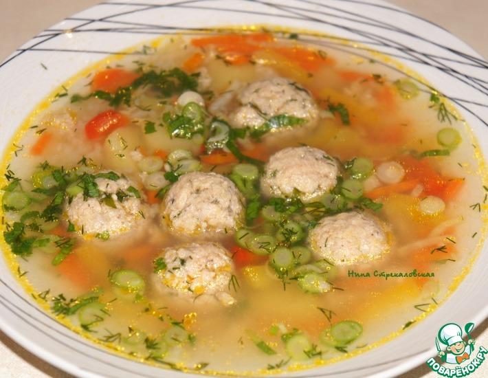 Рецепт: Суп с фрикадельками из консервированной горбуши